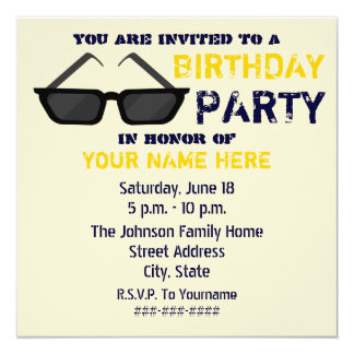 Birthday Party Invitation - Black Sunglasses