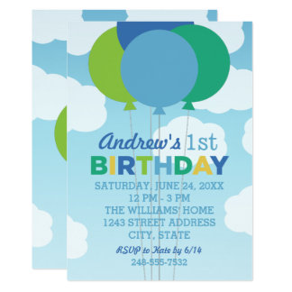 Birthday Party Invitation | Blue Green Balloons