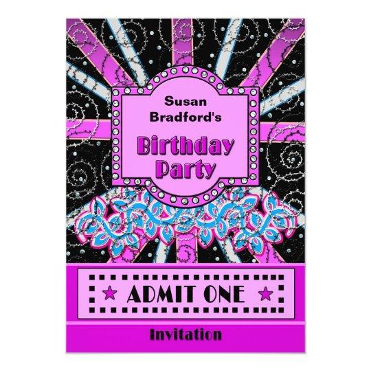 BIRTHDAY PARTY INVITATION - BROADWAY TICKET STYLE