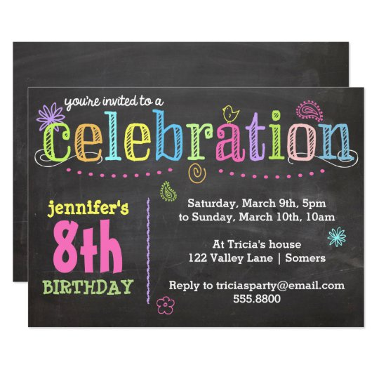 Birthday Party Invitation-Chalk + Neon Card