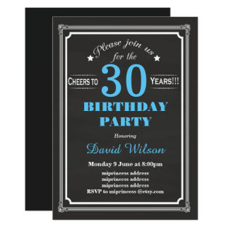 Birthday Party invitation, chalkboard background Card