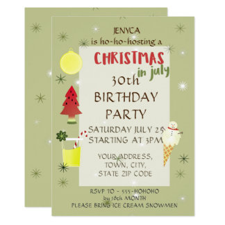 Birthday Party Invitation Christmas in July