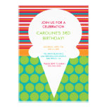 Birthday Party Invitation Colourful Ice Cream Cone