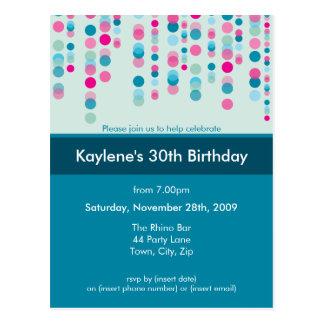 BIRTHDAY PARTY INVITATION discotek 5 Post Card