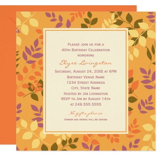 Birthday Party Invitation | Fall Leaves Border