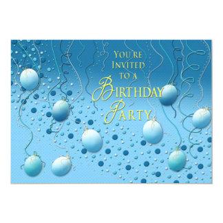 BIRTHDAY PARTY INVITATION - FESTIVE BLUE/YELLOW