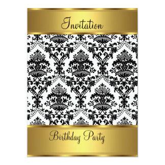 "Birthday Party Invitation Gold Damask 6.5"" X 8.75"" Invitation Card"