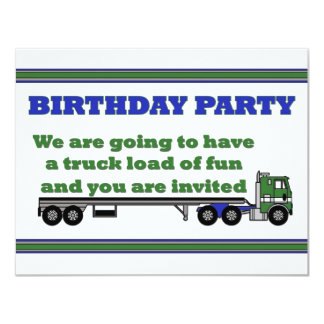 Birthday party invitation green cabover big rig