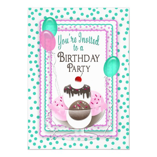 Birthday Party Invitation - Ice Cream Sundae/Dots