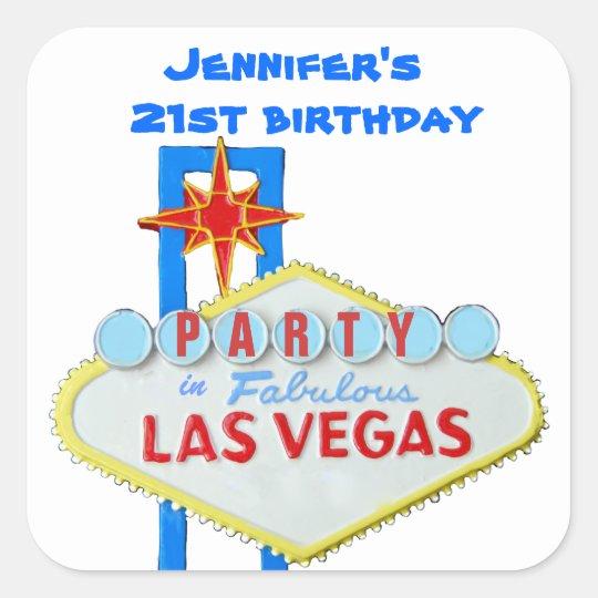 Birthday Party Invitation Las Vegas SIgn Square Sticker
