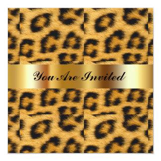 Birthday Party Invitation Leopard Gold Black