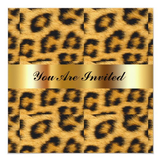 Birthday Party Invitation Leopard Gold Black