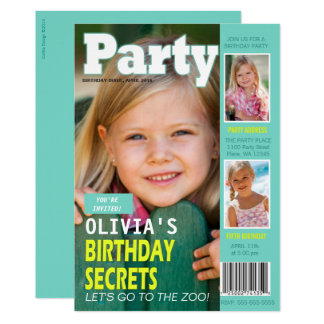 Birthday Party Invitation Magazine Cover 3 Photos