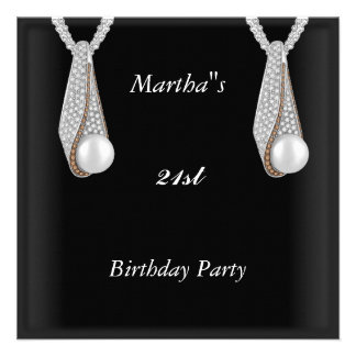 Birthday Party Invitation Pearls ear rings