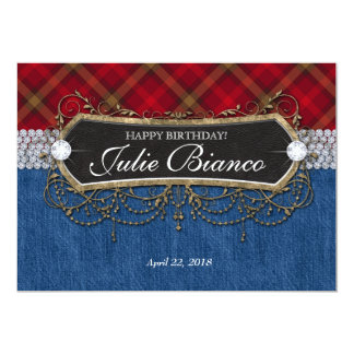 Birthday Party Invitation Plaid Denim Vintage