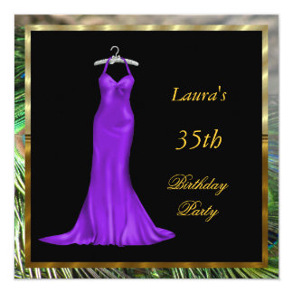 Birthday Party Invitation Purple dress