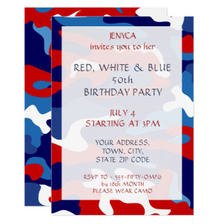 Birthday Party Invitation Red White Blue Camo