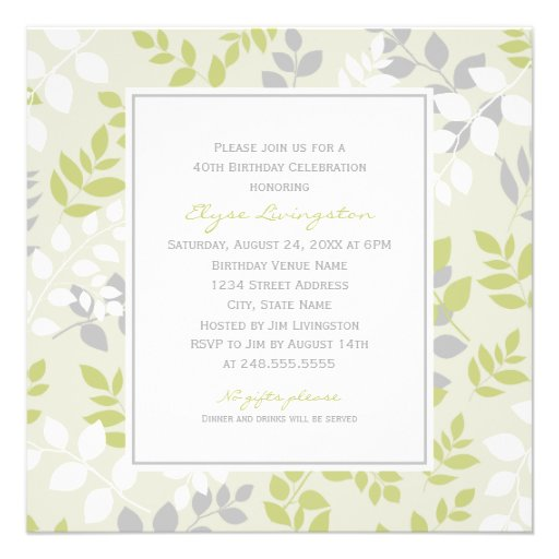 Birthday Party Invitation | Spring Leaves Border