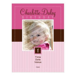 BIRTHDAY PARTY INVITATION :: stitched - girl Postcard