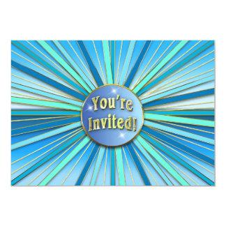 BIRTHDAY PARTY INVITATION - SUNBURST BLUE/GOLD RAY