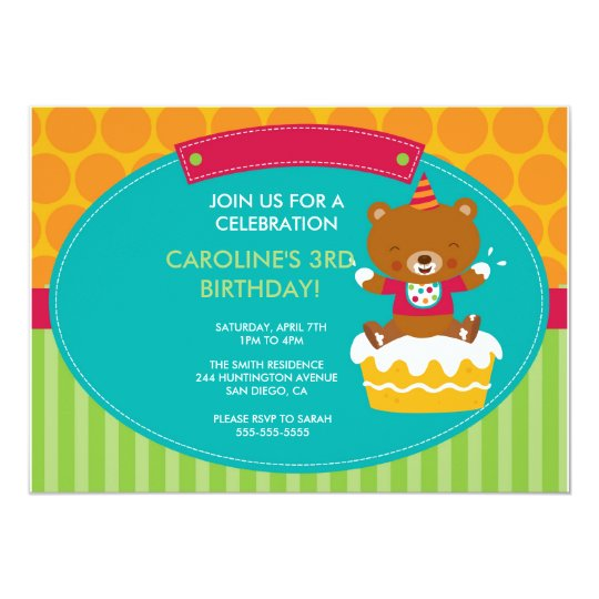 Birthday Party Invitation Teddy Bear and Cake