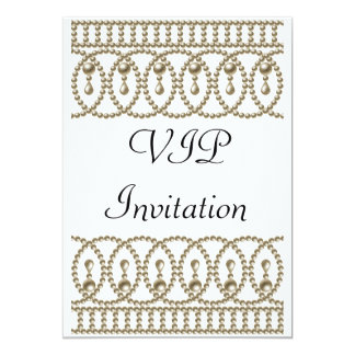 "Birthday Party Invitation White Gold VIP 5"" X 7"" Invitation Card"