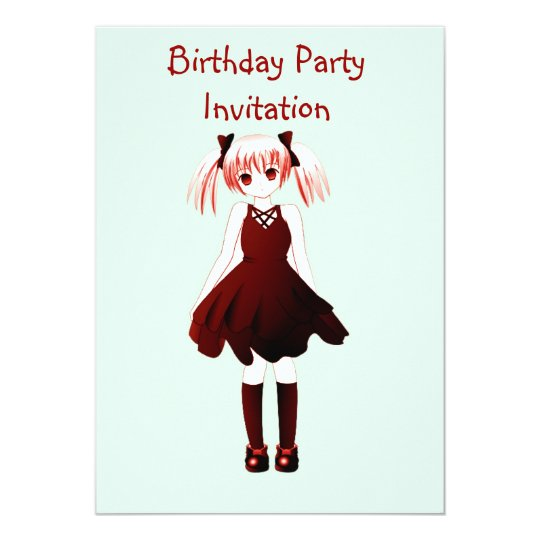 Birthday party invitation with anime girl zazzle birthday party invitation with anime girl filmwisefo