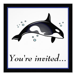 Birthday Party Invitation with Orca Whale