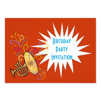 Birthday party invitation with trumpet