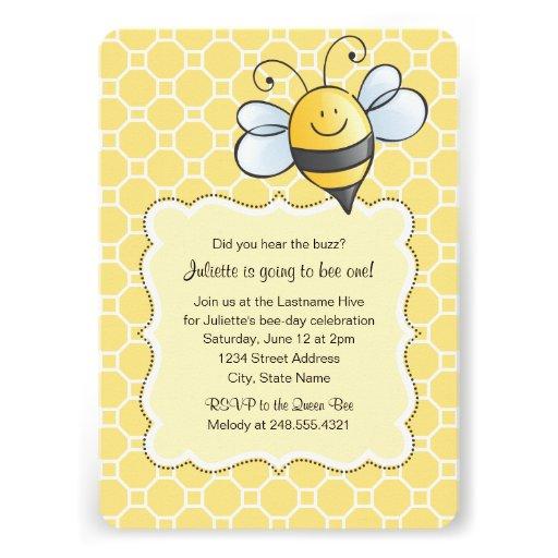 Birthday Party Invitation | Yellow Bumblebee Custom Invite