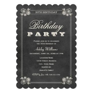Birthday Party Invitations | Black Chalkboard