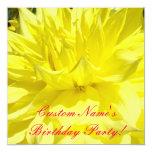 "Birthday Party Invitations Custom Yellow Dahlias 5.25"" Square Invitation Card"