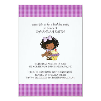 """Birthday Party Invitations for a Girl 3.5"""" X 5"""" Invitation Card"""