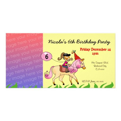 Birthday party invitations (pink pony) photo card template