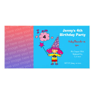 Birthday party invitations (wizard) custom photo card
