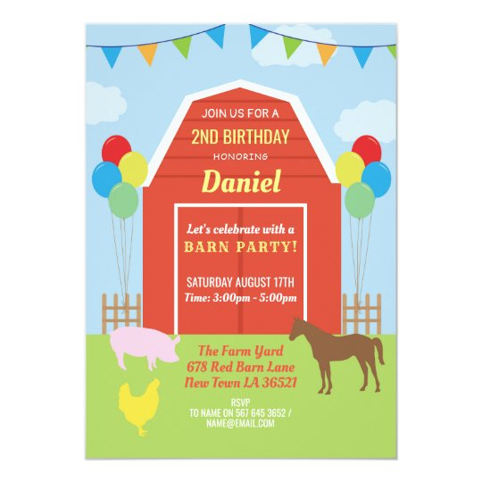 Birthday Party Invite Barn Yard Farm Balloons