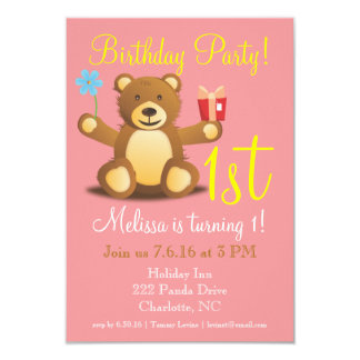 "Birthday Party Invite | Bearry 1st 3.5"" X 5"" Invitation Card"