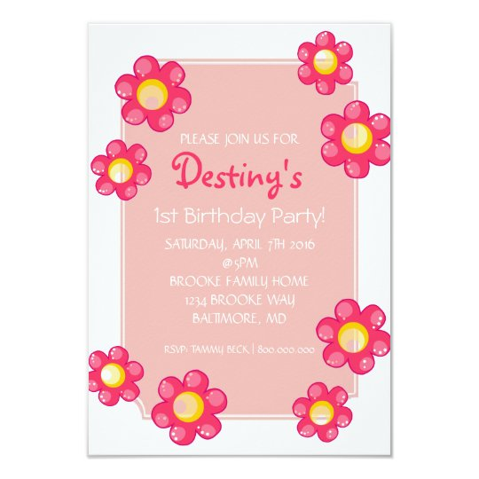 Birthday Party Invite | Cute Flower |whi
