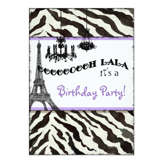 Birthday Party Invite, Zebra, Eiffel Tower Card