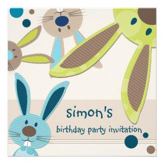 BIRTHDAY PARTY INVITES :: bunny's peeking 4SQ