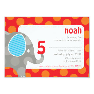 BIRTHDAY PARTY INVITES :: elephant + number 6L