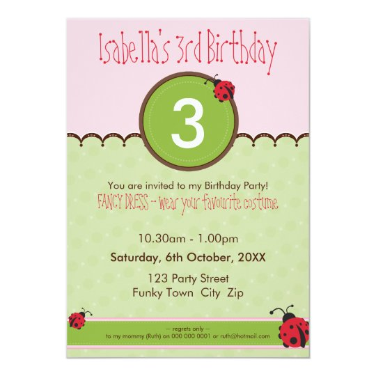 BIRTHDAY PARTY INVITES :: ladybird 4P