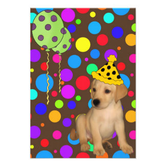 Birthday Party Labrador Puppy Spots Balloons 2 Personalized Invites
