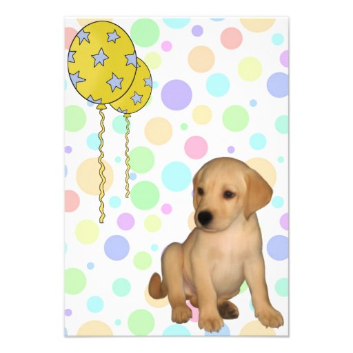 Birthday Party Labrador Puppy Spots Balloons 3 Personalized Invite