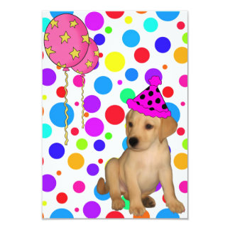 Birthday Party Labrador Puppy Spots Balloons Card