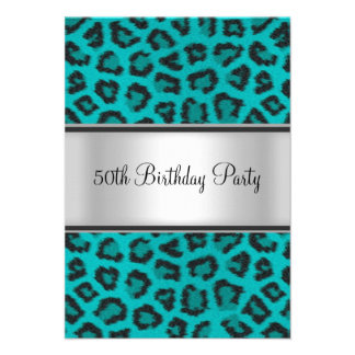 Birthday Party Leopard Fur Teal Custom Announcements