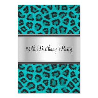 Birthday Party Leopard Fur Teal 9 Cm X 13 Cm Invitation Card