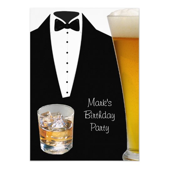 Birthday Party Mans Mens Beer Scotch Tuxedo Card