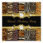 Birthday Party Mixed Animal Prints Gold Black 13 Cm X 13 Cm Square Invitation Card