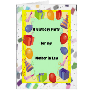 Birthday Party/ Mother in Law, Festive Card
